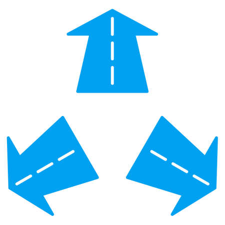 three points: Road Directions vector icon. Style is flat symbol, blue color, rounded angles, white background.
