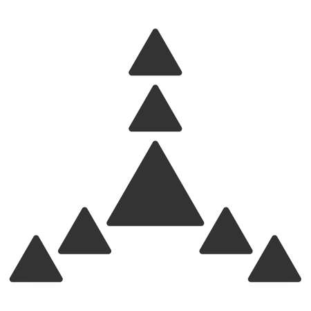 three points: Direction Triangles vector icon. Style is flat symbol, gray color, rounded angles, white background.
