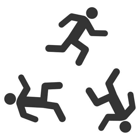 concurrent: Running Men vector icon. Style is flat symbol, gray color, rounded angles, white background.