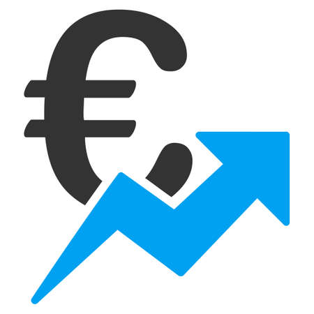 grow money: Euro Growth glyph icon. Style is bicolor flat symbol, blue and gray colors, rounded angles, white background.