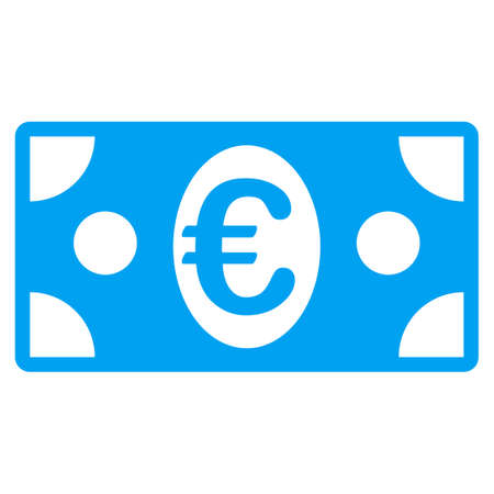 banknote: Euro Banknote glyph icon. Style is flat symbol, blue color, rounded angles, white background. Stock Photo