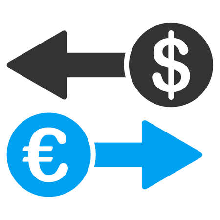 transactions: Currency Transactions vector icon. Style is bicolor flat symbol, blue and gray colors, rounded angles, white background. Illustration
