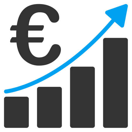 sales growth: Euro Bar Chart vector icon. Style is bicolor flat symbol, blue and gray colors, rounded angles, white background. Illustration