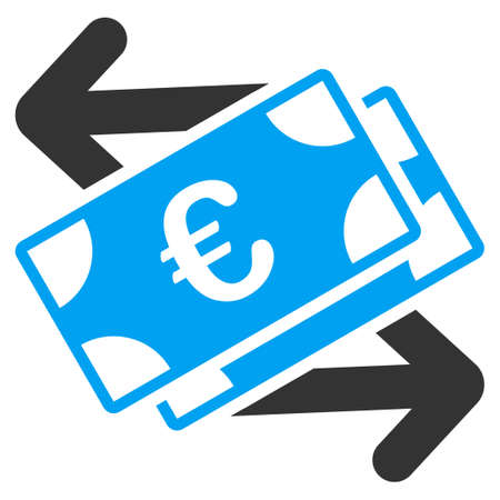banknotes: Euro Banknotes Payments vector icon. Style is bicolor flat symbol, blue and gray colors, rounded angles, white background.