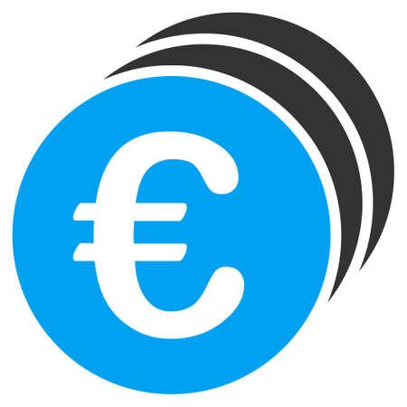 ユーロ硬貨のベクター アイコン。スタイルはバイカラー フラット シンボル、青、グレー色、丸みを帯びた角、ホワイト バック グラウンド。