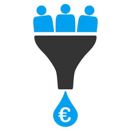 Euro Sales Funnel vector icon. Style is bicolor flat symbol, blue and gray colors, rounded angles, white background. Vettoriali