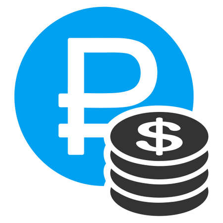 rouble: Rouble And Dollar Coins vector icon. Style is bicolor flat symbol, blue and gray colors, rounded angles, white background.