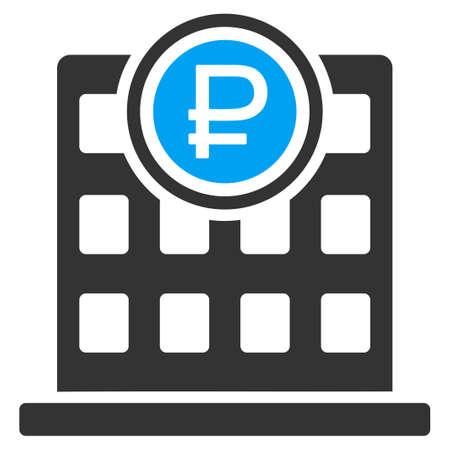 rouble: Rouble Bank Office vector icon. Style is bicolor flat symbol, blue and gray colors, rounded angles, white background. Illustration