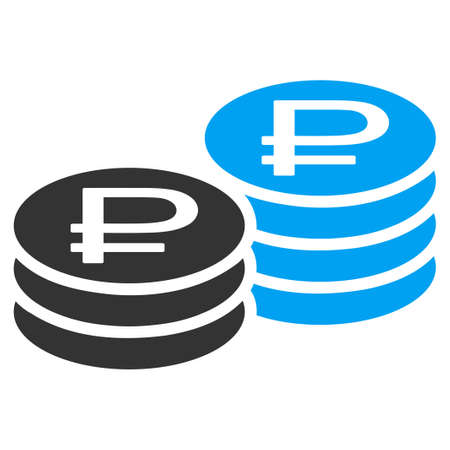rub: Rouble Coin Stacks vector icon. Style is bicolor flat symbol, blue and gray colors, rounded angles, white background.