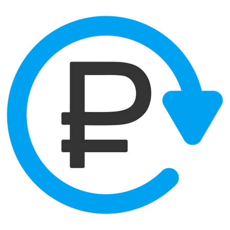 financial cycle: Rouble Recurring Payment vector icon. Style is bicolor flat symbol, blue and gray colors, rounded angles, white background.