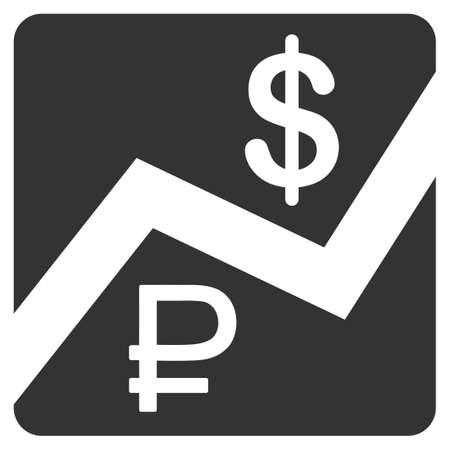 rub: Rouble And Dollar Finances vector icon. Style is flat symbol, gray color, rounded angles, white background. Illustration