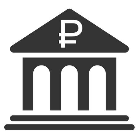 rouble: Rouble Bank Building vector icon. Style is flat symbol, gray color, rounded angles, white background.