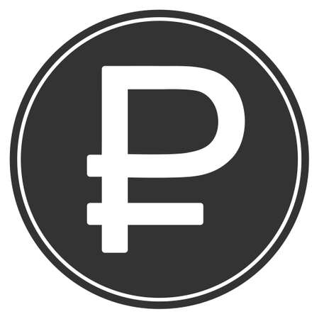 rouble: Rouble Coin vector icon. Style is flat symbol, gray color, rounded angles, white background.