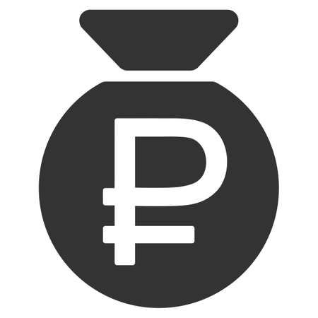 rouble: Rouble Fund vector icon. Style is flat symbol, gray color, rounded angles, white background. Illustration