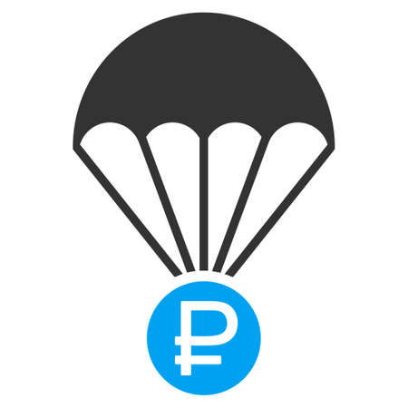 sky diving: Rouble Rescue glyph icon. Style is bicolor flat symbol, blue and gray colors, rounded angles, white background.
