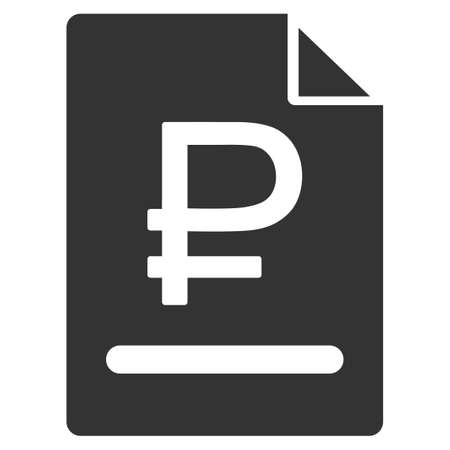 indenture: Rouble Bill glyph icon. Style is flat symbol, gray color, rounded angles, white background.