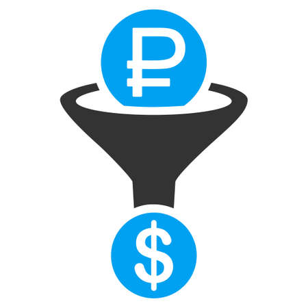 stricture: Rouble Currency Conversion glyph icon. Style is bicolor flat symbol, blue and gray colors, rounded angles, white background.