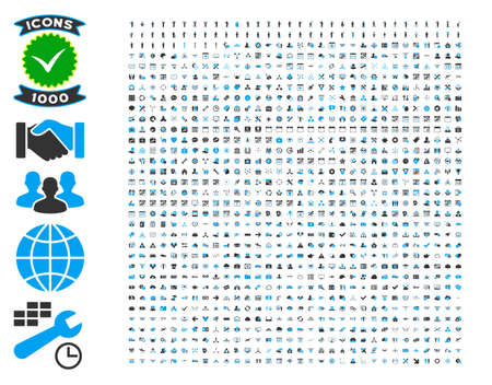 1000 vector icons for man poses, bank service, time management, health care, software toolbars. Style is bicolor flat symbols, blue and gray colors, rounded angles, white background. Illustration