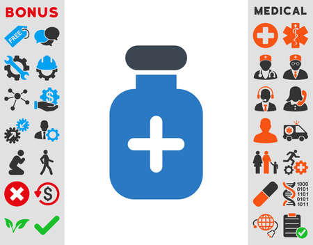 medication: Medication Vial vector icon. Style is bicolor flat symbol, smooth blue colors, rounded angles, white background.
