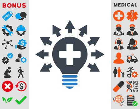 medical distribution: Disinfection Lamp vector icon. Style is bicolor flat symbol, smooth blue colors, rounded angles, white background.