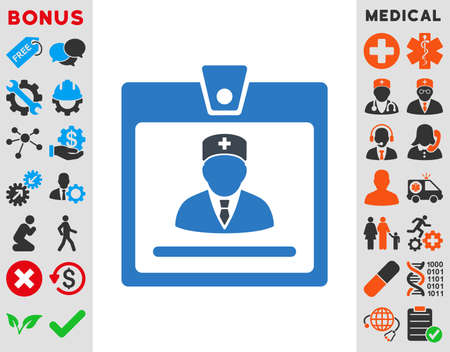 authorize: Doctor Badge vector icon. Style is bicolor flat symbol, smooth blue colors, rounded angles, white background.