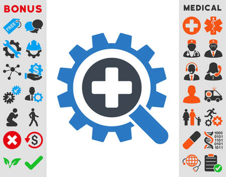 medical technology: Find Medical Technology vector icon. Style is bicolor flat symbol, smooth blue colors, rounded angles, white background.