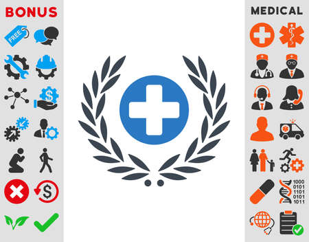 Health Care Embleme vector icon. Style is bicolor flat symbol, smooth blue colors, rounded angles, white background. Illustration