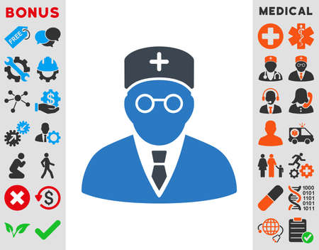 physician: Main Physician vector icon. Style is bicolor flat symbol, smooth blue colors, rounded angles, white background.
