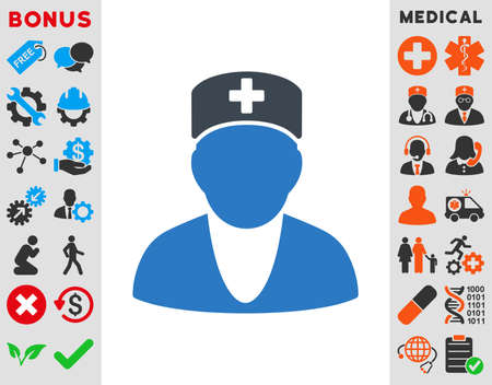 medics: Medic vector icon. Style is bicolor flat symbol, smooth blue colors, rounded angles, white background. Illustration