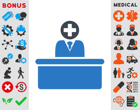 bureaucrat: Medical Bureaucrat vector icon. Style is bicolor flat symbol, smooth blue colors, rounded angles, white background.