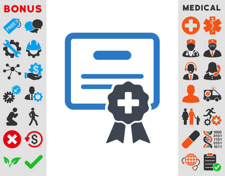 certification: Medical Certification vector icon. Style is bicolor flat symbol, smooth blue colors, rounded angles, white background.
