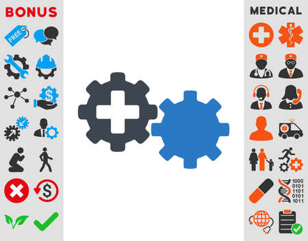 gear box: Medical Process vector icon. Style is bicolor flat symbol, smooth blue colors, rounded angles, white background.