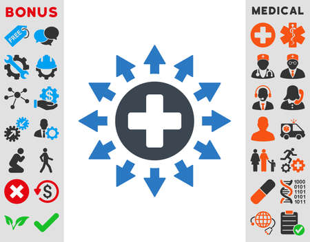 medical distribution: Pharmacy Distribution vector icon. Style is bicolor flat symbol, smooth blue colors, rounded angles, white background.