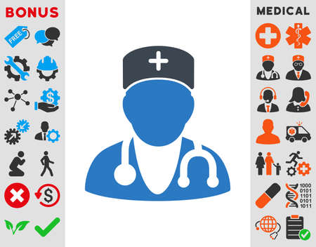 auscultation: Physician vector icon. Style is bicolor flat symbol, smooth blue colors, rounded angles, white background.