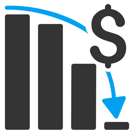 financial crisis: Financial Crisis vector icon. Style is bicolor flat symbol, blue and gray colors, rounded angles, white background.