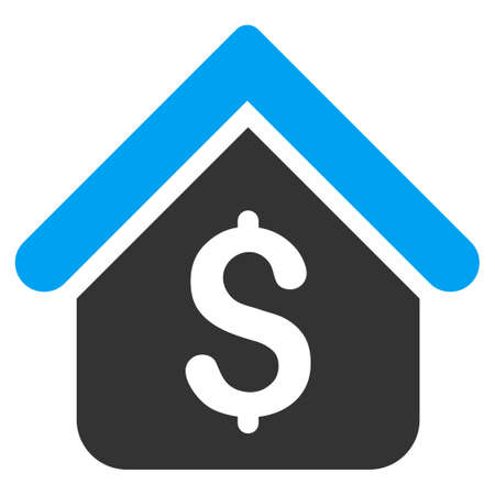 blue icon: Loan Mortgage vector icon. Style is bicolor flat symbol, blue and gray colors, rounded angles, white background. Illustration