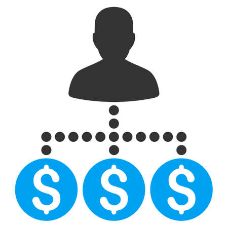 collector: Money Collector vector icon. Style is bicolor flat symbol, blue and gray colors, rounded angles, white background. Illustration
