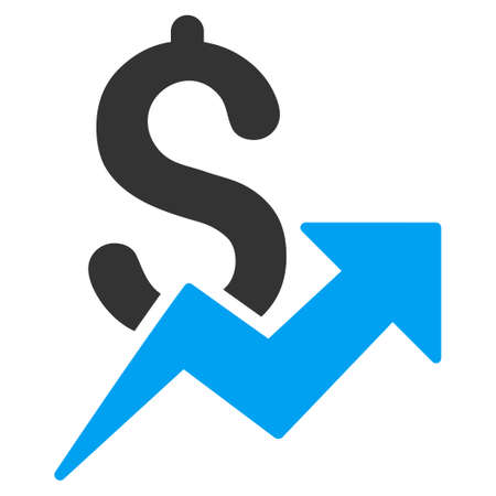 grow money: Dollar Growth glyph icon. Style is bicolor flat symbol, blue and gray colors, rounded angles, white background.