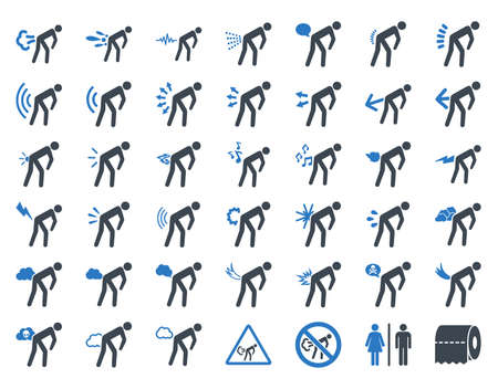 diarrhoea: Stink patients glyph icon collection. Style is bicolor flat symbols, smooth blue colors, rounded angles, white background.