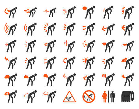 diarrhoea: Fart people vector icon set. Style is bicolor flat symbols, orange and gray colors, rounded angles, white background. Illustration
