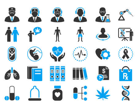 son deposit: Medical vector icon set. Style is bicolor flat symbols, blue and gray colors, rounded angles, white background. Illustration