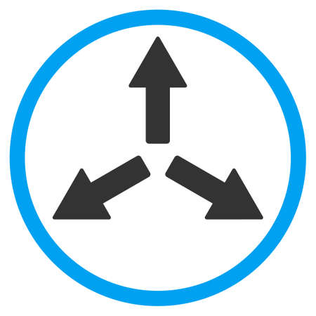 expansion: Expand Arrows vector icon. Style is bicolor flat circled symbol, blue and gray colors, rounded angles, white background. Illustration