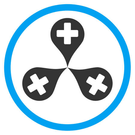polyclinic: Hospital Map Markers vector icon. Style is bicolor flat circled symbol, blue and gray colors, rounded angles, white background. Illustration