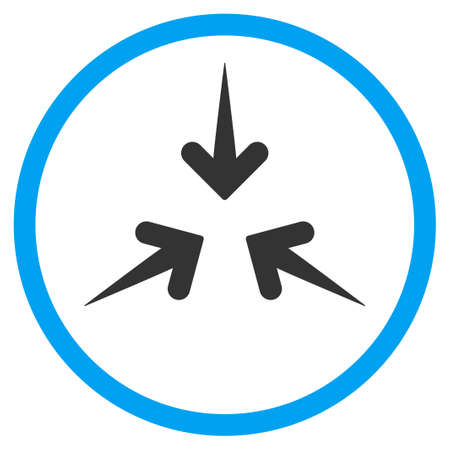 Impact Arrows vector icon. Style is bicolor flat circled symbol, blue and gray colors, rounded angles, white background.