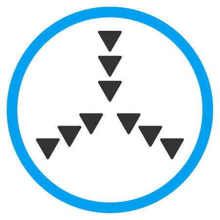 squeeze shape: Inside Direction vector icon. Style is bicolor flat circled symbol, blue and gray colors, rounded angles, white background.