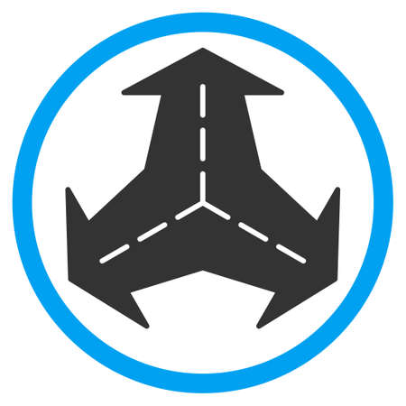 directions icon: Intersection Directions vector icon. Style is bicolor flat circled symbol, blue and gray colors, rounded angles, white background. Illustration