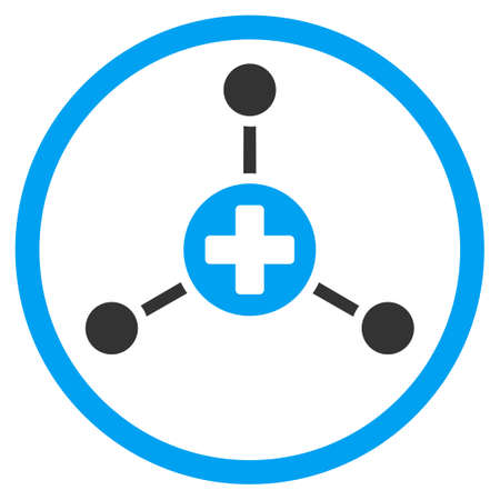 polyclinic: Medical Center vector icon. Style is bicolor flat circled symbol, blue and gray colors, rounded angles, white background.