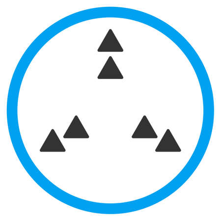 three points: Move Out vector icon. Style is bicolor flat circled symbol, blue and gray colors, rounded angles, white background. Illustration