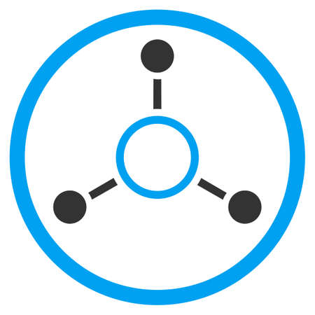 quark: Radial Structure vector icon. Style is bicolor flat circled symbol, blue and gray colors, rounded angles, white background.