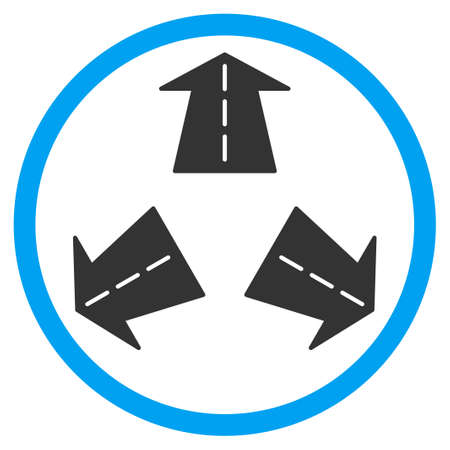 three points: Road Directions vector icon. Style is bicolor flat circled symbol, blue and gray colors, rounded angles, white background. Illustration